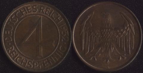 Германия 4 рейхспфеннига 1932