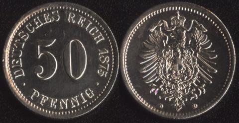 Германия 50 пфеннигов 1875