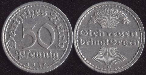 Германия 50 пфеннигов 1919