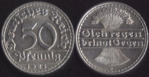 Германия 50 пфеннигов 1921