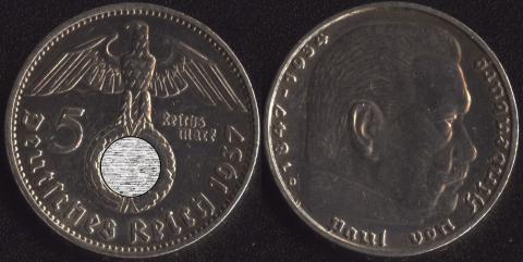 Германия 5 марок 1937