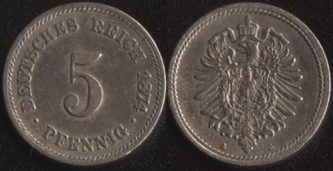 Германия 5 пфеннигов 1874