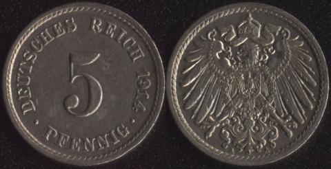 Германия 5 пфеннигов 1914