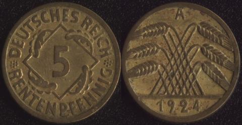 Германия 5 рентных пфеннигов 1924