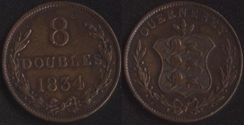 Гернси 8 дублей 1834