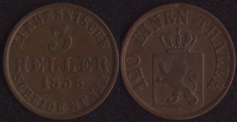 Гессен-Кассель 3 хеллера 1858