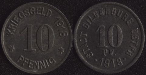 Гильгенбург 10 пфеннигов 1918