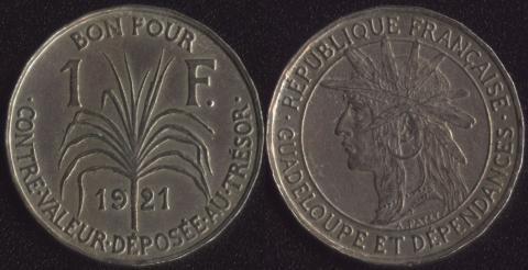 Гваделупа 1 франк 1921