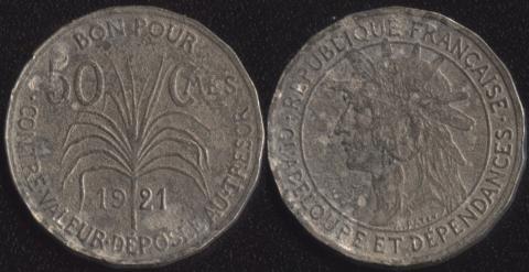 Французская Гваделупа 50 сантим 1921