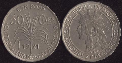 Гваделупа 50 сантимов 1921