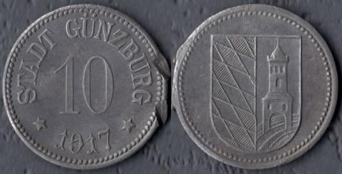 Гюнцбург 10 пфеннигов 1917