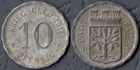 Хаген 10 пфеннигов 1917