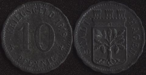 Хаген 10 пфеннигов 1918