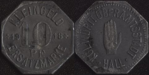 Халл 10 пфеннигов 1918