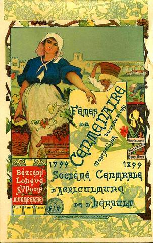 Праздник столетнего юбилея земледельческого общества Эро. Постер 1899 года.