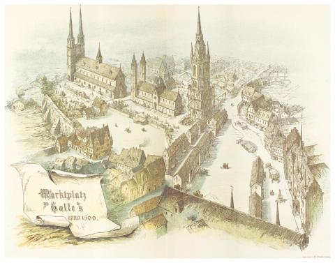 Вид на рыночную площадь (1500 год), литография 1889 года