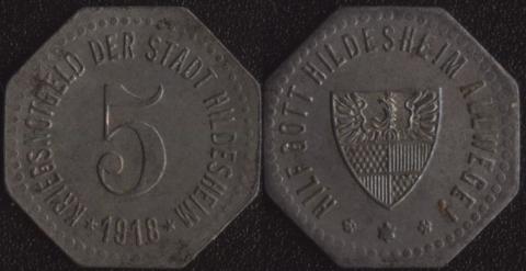 Хильдесхайм 5 пфеннигов 1918