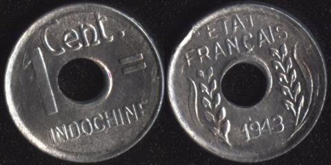 Французский Индокитай 1 цент 1943
