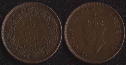 Индия Британская 1/12 анны 1939 (Второй портрет)