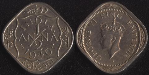Индия Британская 1/2 анны 1946