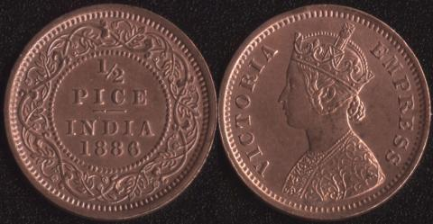 Индия 1/2 пайса 1886