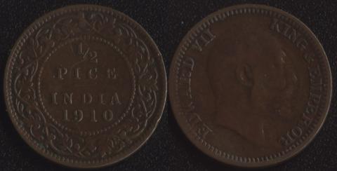 Индия 1/2 пайса 1910