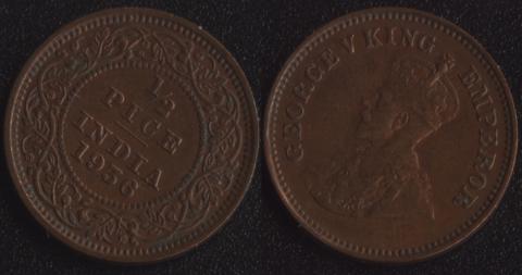 Индия 1/2 пайса 1936