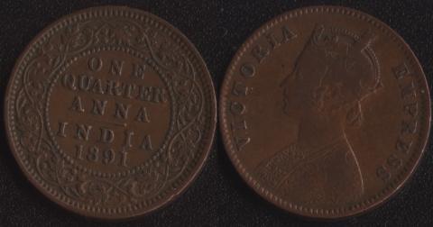 Индия 1/4 анны 1891
