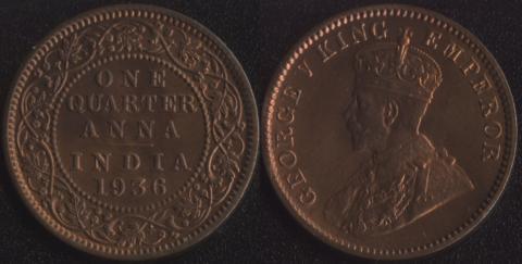 Индия 1/4 анны 1936