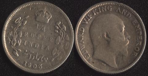 Индия 1/4 рупии 1903