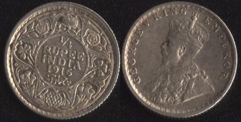 Индия 1/4 рупии 1916