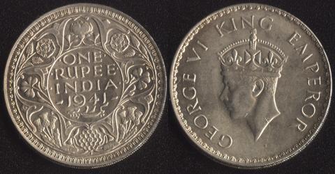 Индия Британская 1 рупия 1941