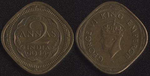 Индия Британская 2 анны 1945