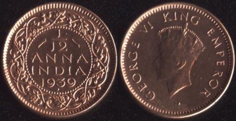 Индия Британская 1/12 анны 1939 (Первый портрет)