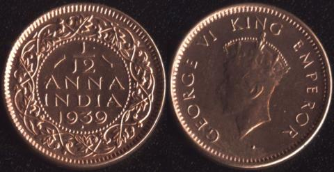 Индия Британская 1/12 анны 1939 (1 тип)
