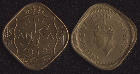 Индия Британская 1/2 анны 1944