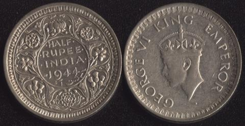 Индия Британская 1/2 рупии 1944
