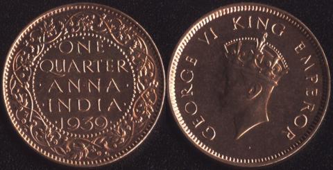 Индия Британская 1/4 анны 1939 (Первый портрет)