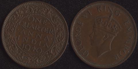 Индия Британская 1/4 анны 1940 (2 тип)