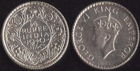 Индия Британская 1/4 рупии 1940