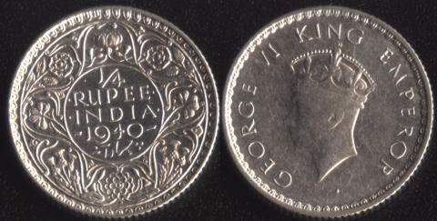Индия Британская 1/4 рупии 1940 (1 тип)