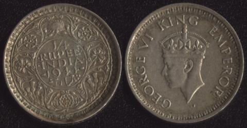 Индия Британская 1/4 рупии 1944
