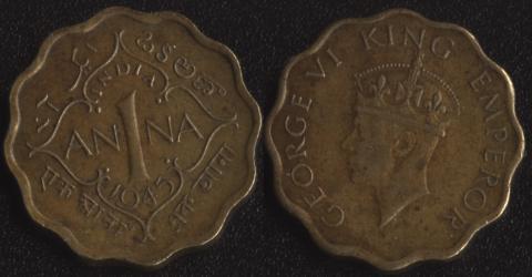 Индия Британская 1 анна 1945