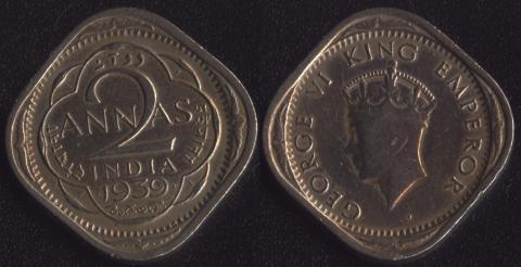 Индия Британская 2 анны 1939 (1 тип)