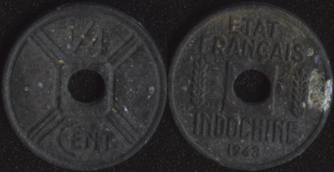 Французский Индокитай 1/4 цента 1943