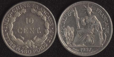 Французский Индокитай 10 центов 1937