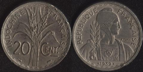 Французский Индокитай 20 центов 1939