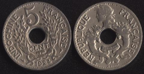 Французский Индокитай 5 центов 1924