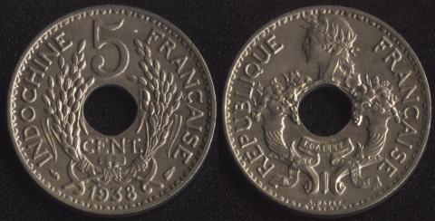 Французский Индокитай 5 центов 1938