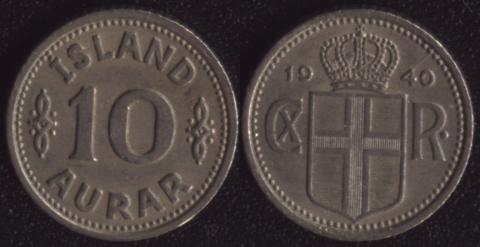 Исландия 10 аурар 1940